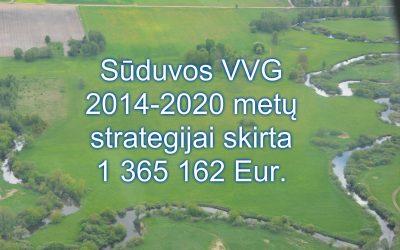 Sūduvos VVG 2014-2020 metų strategijai skirta 1 365 162 Eur.